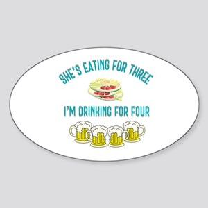 She's Eating For Three I'm Drinkin Sticker