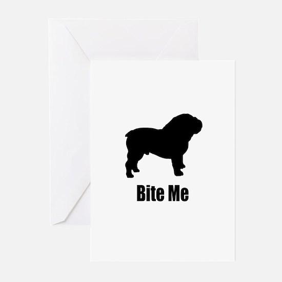 Bite Me Bulldog Black Greeting Cards (Pk of 10)
