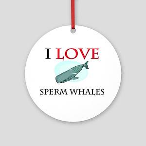 I Love Sperm Whales Ornament (Round)