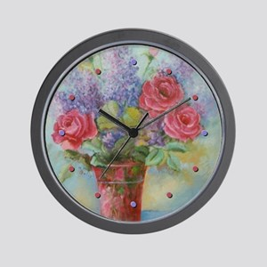 Roses and Lilacs Wall Clock