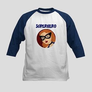 Retro Superhero Betty Kids Baseball Jersey