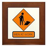 Men at Work Sign 2 - Framed Tile