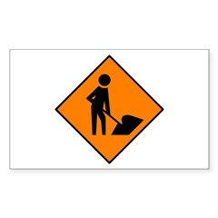 Men at Work Sign 3 - Rectangle Decal