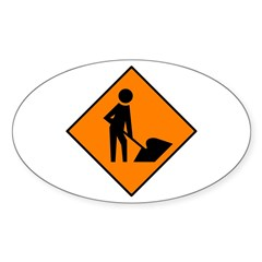 Men at Work Sign 3 - Oval Decal