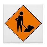 Men at Work Sign 3 - Tile Coaster