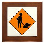 Men at Work Sign 3 - Framed Tile
