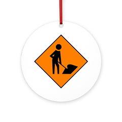 Men at Work Sign 3 - Keepsake (Round)