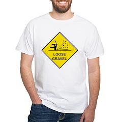 Yellow Loose Gravel Sign - White T-Shirt