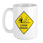Yellow Loose Gravel Sign - Large Mug