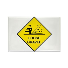 Yellow Loose Gravel Sign - Rectangle Magnet