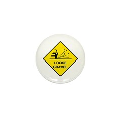Yellow Loose Gravel Sign - Mini Button (100 pack)