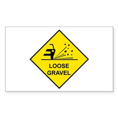 Yellow Loose Gravel Sign - Rectangle Decal