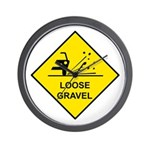 Yellow Loose Gravel Sign - Wall Clock