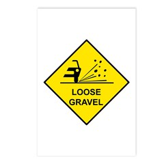 Yellow Loose Gravel Sign - Postcards (Package of 8