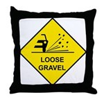 Yellow Loose Gravel Sign - Throw Pillow