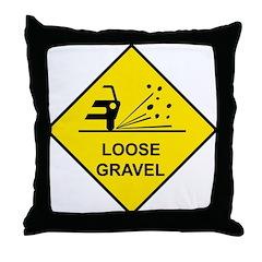 Yellow Loose Gravel Sign - Throw Pillow