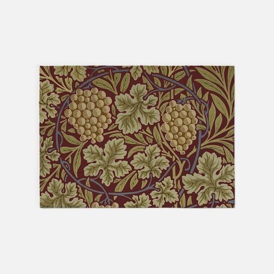 William Morris Grape Vine Wallpaper 5'x7'Area Rug