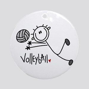 Stick Figure Volleyball Ornament (Round)