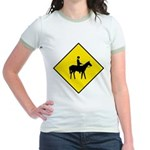Horse Crossing Sign Jr. Ringer T-Shirt