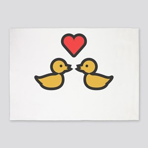 Kissing Ducks Super Cute Valentines 5'x7'Area Rug