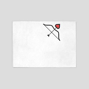 Heart Bow Arrow Cute Valentines Day 5'x7'Area Rug
