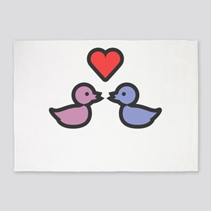 Kissing Ducks Cute And Sweet Valent 5'x7'Area Rug