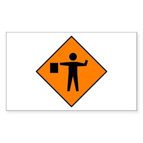 Flagman Ahead Sign - Rectangle Sticker