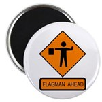 "Flagman Ahead Sign - 2.25"" Magnet (100 pack)"