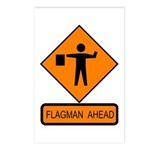 Flagman Ahead Sign - Postcards (Package of 8)