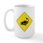 Yellow Fishing Sign - Large Mug