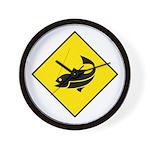 Yellow Fishing Sign - Wall Clock