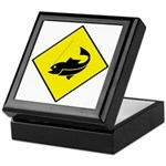 Yellow Fishing Sign - Keepsake Box