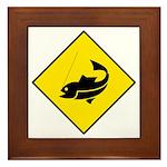 Yellow Fishing Sign - Framed Tile