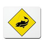 Yellow Fishing Sign - Mousepad