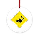 Yellow Fishing Sign - Keepsake (Round)