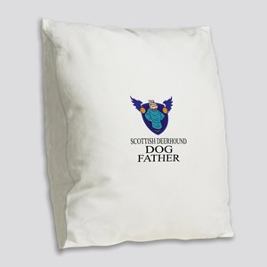 Scottish Deerhound Dog Father Burlap Throw Pillow
