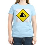 Falling Rocks Sign - Women's Pink T-Shirt