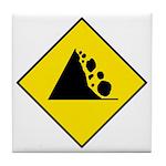 Falling Rocks Sign - Tile Coaster