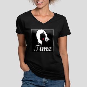 Women's FACE TIME NKOB V-Neck Dark T-Shirt