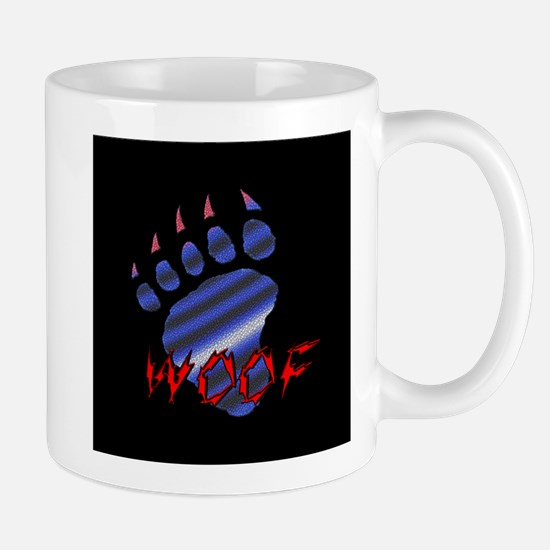 WOOF/FURRY LEATHER PAW/BLK Mug