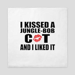 I Kissed jungle-bob Cat Queen Duvet