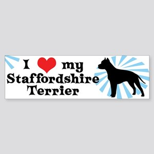 I Love My Staffordshire Terrier Bumper Sticker