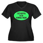 Psycho Lockup Women's Plus Size V-Neck Dark T-Shir