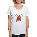 F & V Bowl - Women's white V-Neck T-Shirt