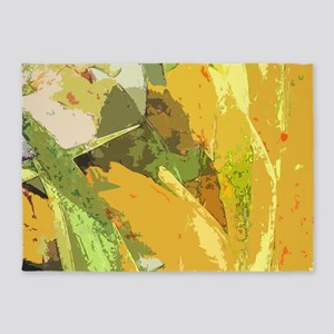 Yellow Gladiolas abstract 5'x7'Area Rug