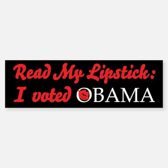 Read My Lipstick - Obama Bumper Bumper Bumper Sticker