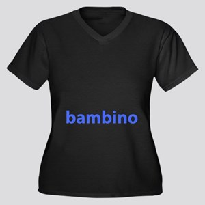 BAMBINO BABY BLUE Women's Plus Size V-Neck Dark T-
