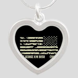 USS George H.W. Bush Silver Heart Necklace