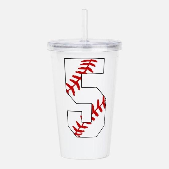 number 5 baseball lace Acrylic Double-wall Tumbler