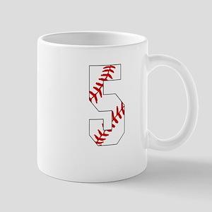 number 5 baseball laces 5th birthday Mugs